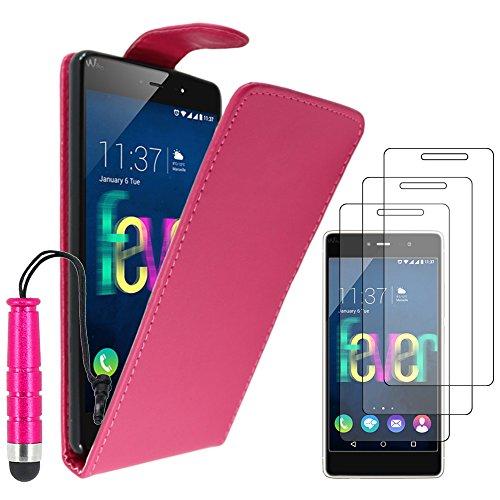 ebestStar - kompatibel mit Wiko Fever 4G Hülle Etui mit Klappe, PU Kunstleder Handyhülle Schutzhülle Hülle Cover + Mini Stift +3 Schutzfolies, Pink [Phone: 148 x 73.8 x 8.3mm, 5.2'']