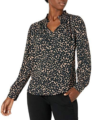 Amazon Brand - Lark & Ro Women's Crepe de Chine Long Sleeve Split Mock Neck Top with Smocked Detail, CAMEL BLACK WATERCOLOR DOT, Large