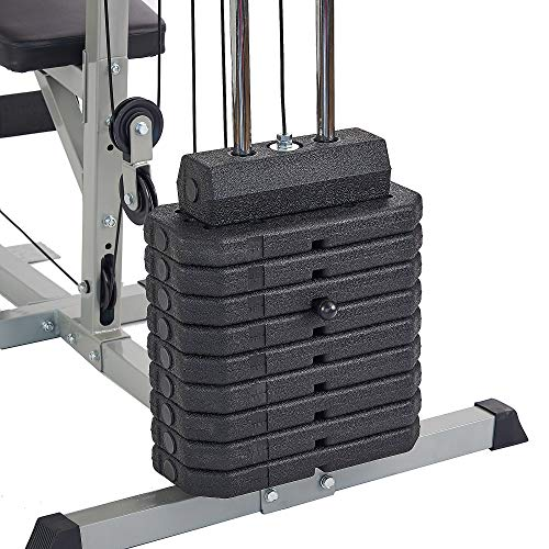 Sporzon Home Gym System Workout Station with 330LB of Resistance, 125LB Weight Stack, Gray