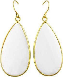 Women's Stone Slice Dangle Drop Earrings for Women, Round Teardrop Shape