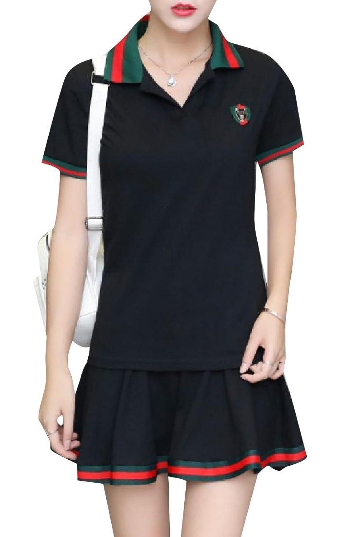VITryst 女性の特大のバッジデザインTシャツミニスカート服装