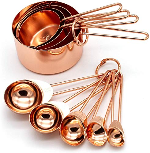 Copper Stainless Steel Measuring Cups and Spoons Set of 8 Engraved Measurements, Pouring Spouts & Mirror Polished for Baking and Cooking.