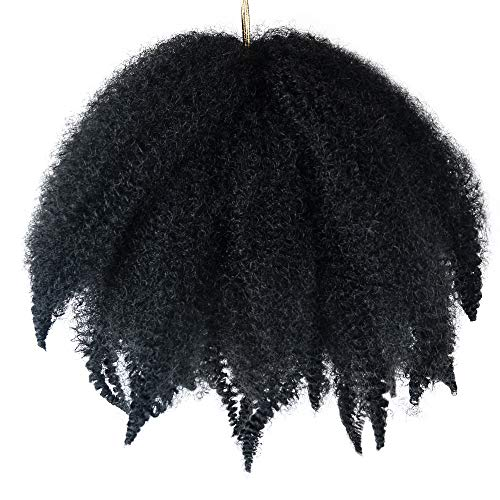 3 Packs Short Afro Kinky Twist Marley Braiding Hair Crochet Braids Synthetic Hair Extensions 8 Inch (#1B)