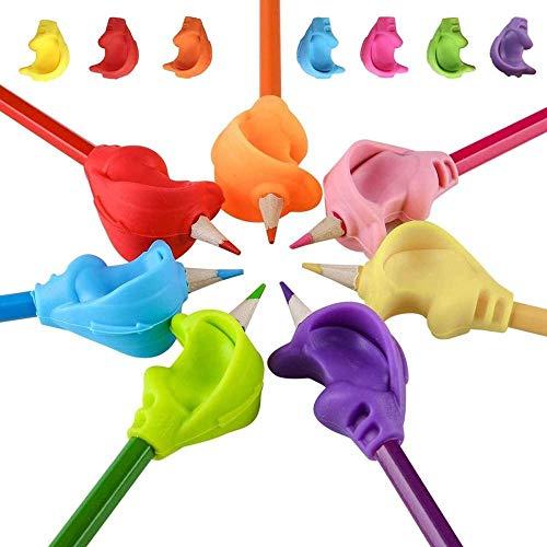 Abrigos de lápiz para niños 7 PCS Pintadas de pluma de silicona Ayuda de escritura ergonómica Herramienta de corrección de postura para niños Autismo Adultos Necesidades especiales Neatures o zur