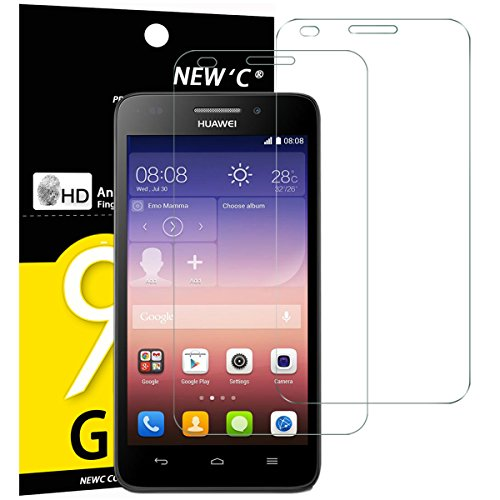NEW'C 2 Stück, Panzerglas für Huawei Ascend G620S Schutzfolie, Frei von Kratzern, 9H Festigkeit, HD Bildschirmschutzfolie, 0.33mm Ultra-klar, Ultrawiderstandsfähig