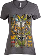 Vintage Butterfly Art | Cool Nature Illustration Butterflies V-Neck T-Shirt for Women-(Vneck,L)
