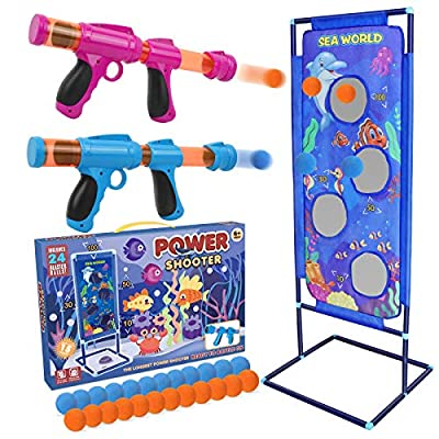 STOTOY Shooting Game for Nerf Toys, 5 6 7 8 9 10+ Years Olds Boys and Girls,2PK Foam Ball Popper Air Toy Guns with Standing Shooting Target, 24 Foam Balls, Indoor-Outdoor Activity Game for Kids