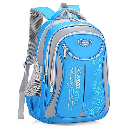 Lightweight Waterproof Children's School Bag Lightweight Backpack Children's Leisure Backpack Children's Large-capacity School Bag Suitable for Boys and Girls ( Color : Blue+gray , Size : 30x20x45cm )