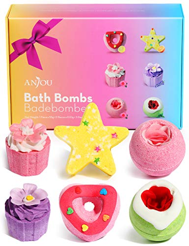 Bath Bombs Gift Set, Anjou Natural Essential Oil Handmade Aroma Bubble Bath Fizzy Spa for Moisturizing Skin, 6-Pack Bath Bomb Sets for Women Kids Gift