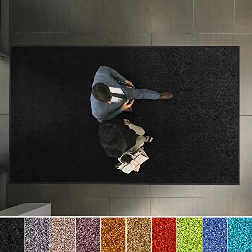 etm Hochwertige Fußmatte | schadstoffgeprüft | bewährte Eingangsmatte in Gewerbe & Haushalt | Schmutzfangmatte mit Top-Reinigungswirkung | Sauberlaufmatte waschbar & rutschfest (120x180 cm, Schwarz)