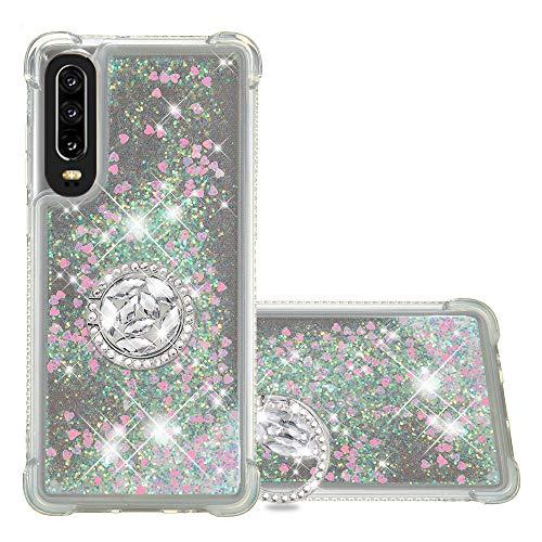 FAWUMAN Funda Huawei P30 TPU Silicona Purpurina Carcasa,Funda para teléfono móvil de Arena movediza líquida en Forma de corazón con Base de Anillo de Diamantes
