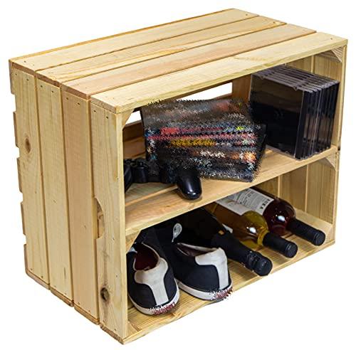 Zapatero de madera natural sin tratar, cajas de madera maciza, cajas de vino, estanterías, dimensiones 50 x 40 x 29 cm (cada caja) (1 juego Johanna longitud)