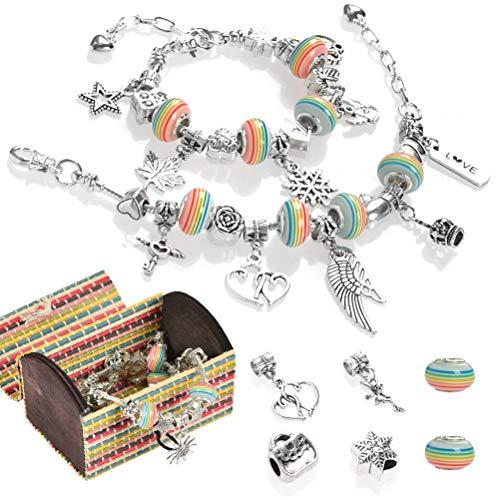 POKIENE Charm Armband DIY Kit | Schmuck Bastelset mit Silber Kette Schmuck | Geschenke für Mädchen Teens 8-12 Jahre (3 Silber Kette)
