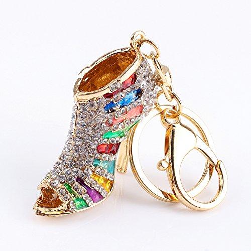 Jimfoty Strass Stiletto Lady High Heel Schuh Schlüsselbund Strass Kristall Schlüsselring Frauen Schlüsselbund für Schlüssel/Handtasche/Telefon/Auto Anhänger Zubehör