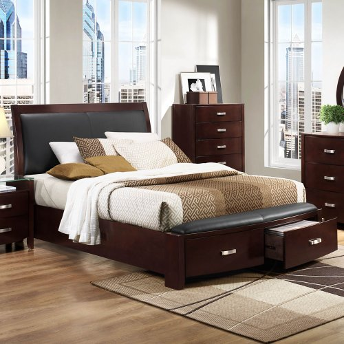 Buy Discount Homelegance Lyric Platform Bed w/Storage Footboard in Dark Espresso - Eastern King
