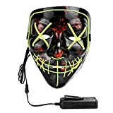 [4 Modalità] Questa maschera luminosa a led ha 4 modalità, piena, lampeggio lento, lampeggiamento veloce e nessuna luce. Puoi agganciare facilmente la batteria ai vestiti o alla tasca. [Materiale di Alta Qualità] La maschera di Halloween è realizzata...