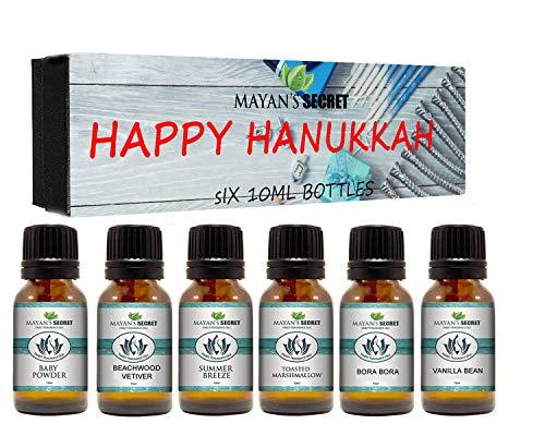 Premium Grade Fragrance Oil- Happy Hanukkah- Gift Set 6/10ml for Diffuser, Body oil, Skin & Hair, Massage, Baby Powder, Beachwood Vetiver,Bora Bora,Summer Breeze,Toasted Marshmallows