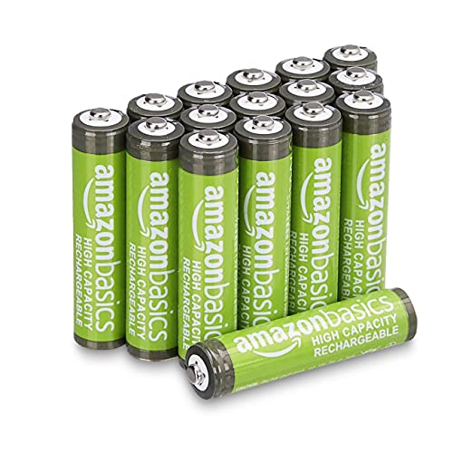 Amazon Basics - Batterie AAA ricaricabili, ad alta capacità, 850 mAh (confezione da 16), pre-caricate