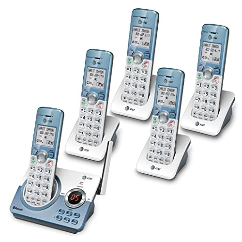 AT&T DL72539 Cordless Phone with Bluetooth Connect to Cell, Smart Call Blocker and Answering System, 5 Handsets, White/Champagne