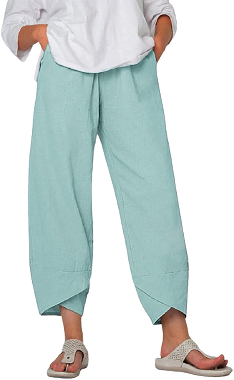 FarJing Summer Pants for Women Loose Cotton Linen Wide Leg Trousers Elastic Waist Lounge Capris Crop Pants