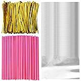 Irich 15CM 100 Lollipop Sticks, 100 Klar Cellophanbeutel Tasche mit 200 Twist Krawatten für Candy...
