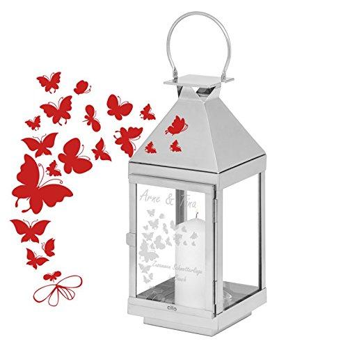 Geschenke 24: Laterne mit Schmetterlingen und Gravur (Höhe 36 cm) - gravierte Edelstahllaterne - Cilio Laterne personalisiert