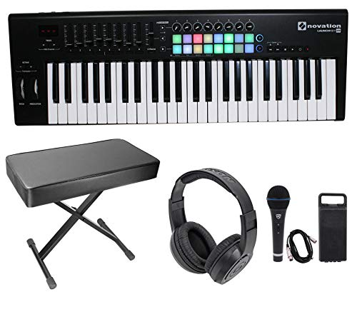 Novation LAUNCHKEY-49-MK2 49-Key Keyboard Controller+Bench+Headphones+Mic+Cable