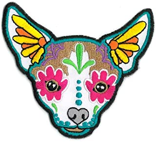 CALI Original Artwork, Pretty in Ink Chihuahua - Embroidered Iron On Patch, 3.5