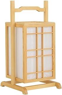 WYBFZTT-188 Lampe de Chevet Table de Chevet, Lampe de Bureau Moderne de Style Asiatique avec Cadre en Bois Tissu Ombre, lu...