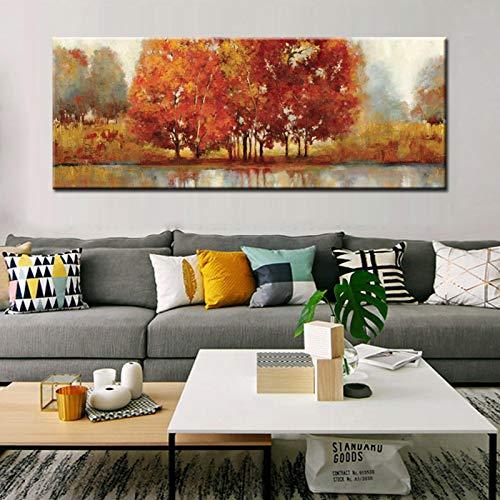 Arte abstracto moderno del paisaje Impresión en lienzo Pintura para la sala de estar Decoración de la pared del hogar Cuadro de arte en lienzo 20x60cm (8x24in) Sin marco