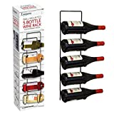 SA Products Wall Mounted Wine Rack – Black Metal Support for 5 Bottles – Perfect Storage for Space Saving – Wall Hanging Champagne Display – Easy to Use – Contemporary Design – Multifunctional Tool