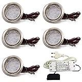 vislux 5er Set LED Möbelleuchte Einbaustrahler Edelstahl Gebürstet flach 3W warmweiß 3200K 200lm 12V + 15W LED Trafo 230V für das Wohnzimmer, Küche & Bad