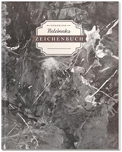DÉKOKIND Zeichenbuch   DIN A4, 122 Seiten, Register, Vintage Softcover   Leeres Buch zum Selbstgestalten   Motiv: Schwarze Kleckse