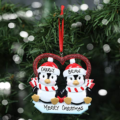 Personalised Hand Crafted Custom Penguin Couple in Heart Christmas Tree Decorations Xmas Bauble Ornaments