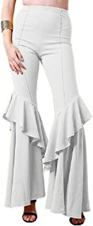 Comaba Women's Casual Long Ruffle High Waist Trendy Pleated Lounge Trousers