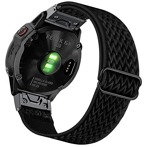 Ahayo Elastisches Nylon Armband für Fenix 6X / Fenix 5X / Enduro, 26mm Quick Fit Weiches dehnbares Uhrenarmband für Garmin Fenix 6X Pro/Sapphire,Fenix 5X/5X Plus,Tactix Delta (Schwarz)