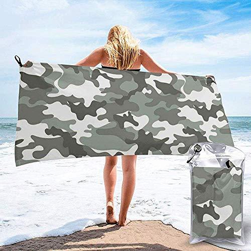 JHDF Patrón de Atuendo Monocromo Camuflaje Interior Vegetación Diseño de Moda Imprimir Baño Piscina Yoga Picnic Manta Toallas de Playa 80 * 130 cm