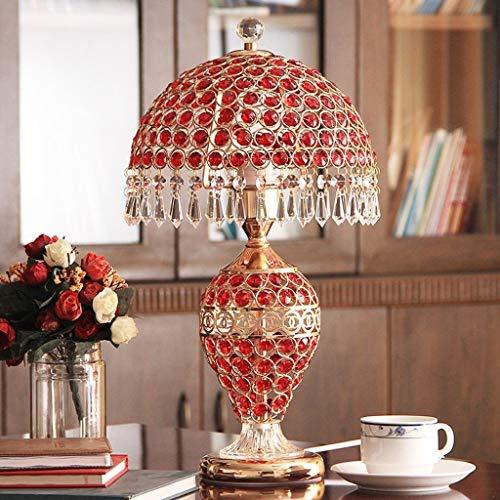 ViewSys Lámpara de Noche, Lámparas de Mesa, Personalidad Simple Continental de Noche Luces del Dormitorio de la Sala de la lámpara, de Cristal roja Home Ideas de Lectura luz de la Noche