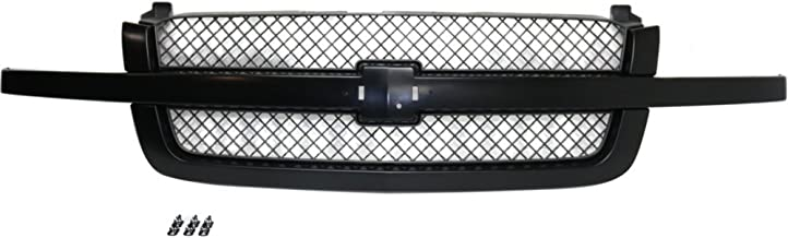 Grille for Chevrolet Silverado 1500 03-07 Mesh Plastic Painted-Black W/Center Bar SS Model
