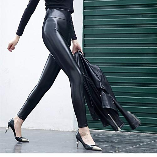 IHCIAIX Damen Lederhose,S-5XL Leggings Damen Shining Matt Leder Partyhose, Breite Taille Slim Big Stretch Lady Hose Push Up Hüfte, leichtes Leder, XXL