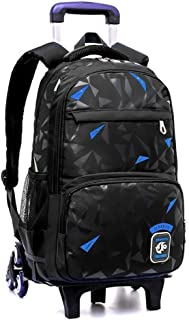 Student Trolley Backpack, Large Capacity Detachable Wheeled Roller Backpack, Climbing Staircase Travel Tote (Color : Black Blue)