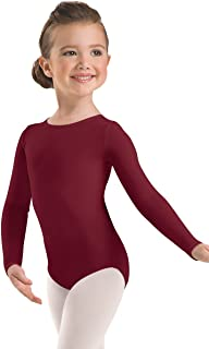 Balera Leotard Girls One Piece For Dance Womens Long Sleeve Scoop Neck Leotard