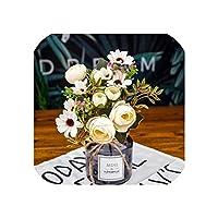 右店ヴィンテージツバキローズウェディングデコレーションブルーム人工花絹の花真珠ract花瓶植木鉢ブーケを飾るホーム、ホワイト