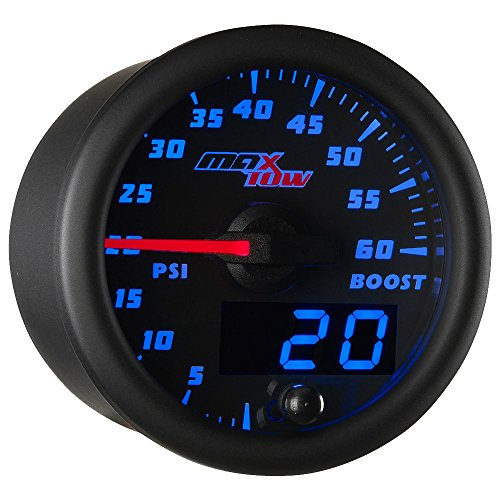 MaxTow Double Vision 60 PSI Turbo Boost Gauge Kit - Includes Electronic Pressure Sensor - Black Gauge Face - Blue LED Illuminated Dial - Analog & Digital Readouts - for Diesel Trucks - 2-1/16' 52mm