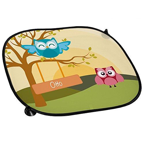 Eulen Auto-Sonnenschutz mit Namen Otto und schönem Eulenbild für Jungs - Auto-Blendschutz - Sonnenblende - Sichtschutz