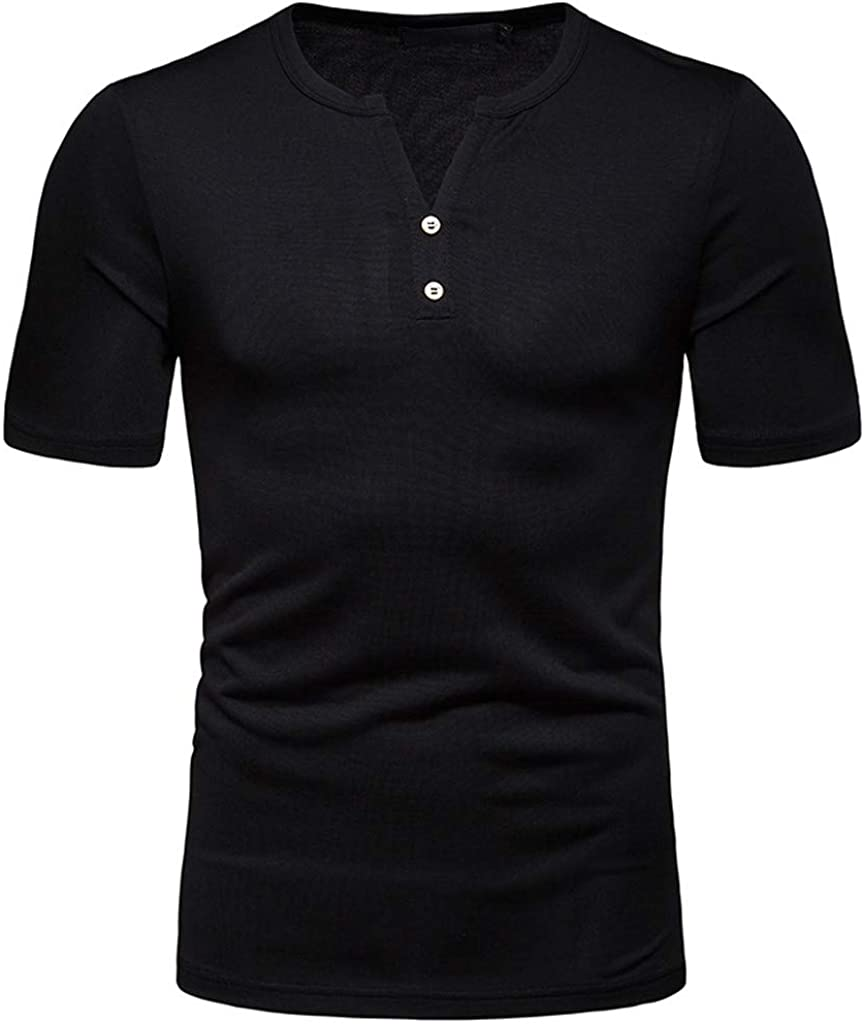 Polo Shirt for Men, F_Gotal Men's T-Shirts Solid Color Fashion Summer Short Sleeve Buttons Casual Tee Shirts Blouse Tops