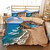 XINGAKA Bedding Juego de Funda de Edredón, Vista al mar Playa Tranquila Cabo de Gata España Foto Costera paisajes de Verano Juego de Cama Decorativo de 3 Piezas 2 Fundas de Almohada