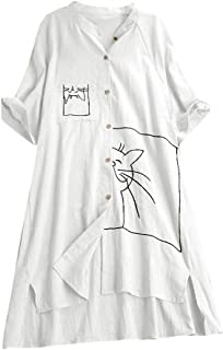 Fankle Women's Long Shirt Cotton Linen Button Up Cat Print Casual Tops T-Shirt Blouse Full Size
