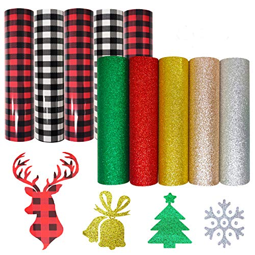 KINGSOW Christmas Buffalo Plaid Glitter Print Heat Transfer Vinyl Sheets Bundle 10pcs/Set 12inch x 10inch Iron on Transfer Fabric Adhesive Patterned HTV Vinyl Home Iron for DIY T-Shirt Craft Material