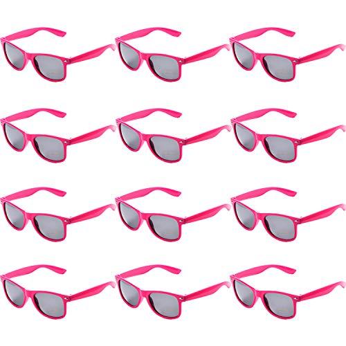 OAONNEA 12 Paare Lustige Neon Party Sonnenbrillen Set fur Kinder Damen Sommer 80er Uv400 (12Hot Pink)